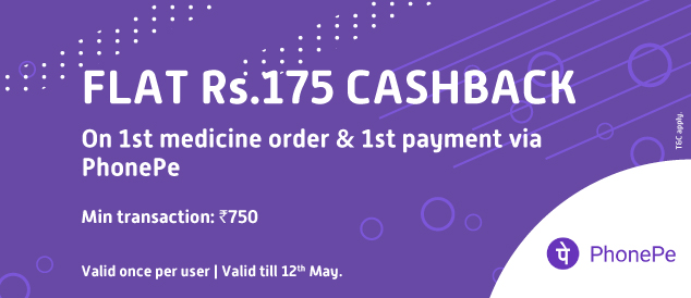 Pay using PhonePe(UPI/Cards/Wallet) & Get flat Rs 175 cashback on first medicine order at Pharmeasy