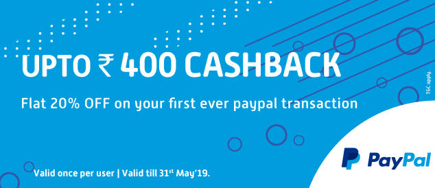 Pay with PayPal and get 20% Cash back up to INR 400 on first ever PayPal transaction Pharmeasy Offer